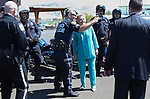 Democratic presidential nominee Hillary Clinton thanks local law enforcement officers following a campaign stop in Reno, Nev., on Thursday, Aug. 25, 2016. Cathleen Allison/Las Vegas Review-Journal