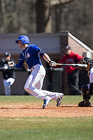 Colton Frabasilio (18) of the Saint Louis Billikens follows through on his swing against the Davidson Wildcats at Wilson Field on March 28, 2015 in Davidson, North Carolina. (Brian Westerholt/Four Seam Images)