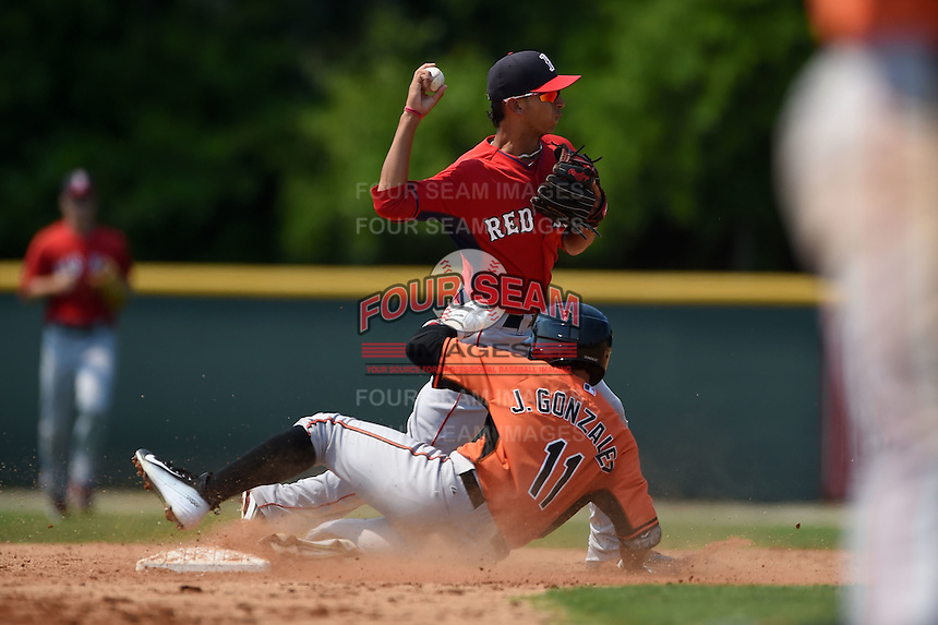 Boston Red Sox Javier Guerra (19) turns a double play as Jay Gonzalez (11) slides in during a minor league spring training game against the Baltimore Orioles on March 20, 2015 at Buck O'Neil Complex in Sarasota, Florida.  (Mike Janes/Four Seam Images)