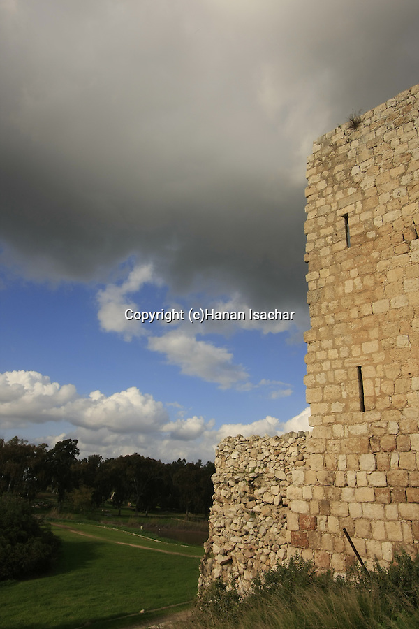 Israel, Sharon region. Ottoman fortress Binar Bashi was built in 1571 on Tel Afek, overlooking the source of Yarkon river