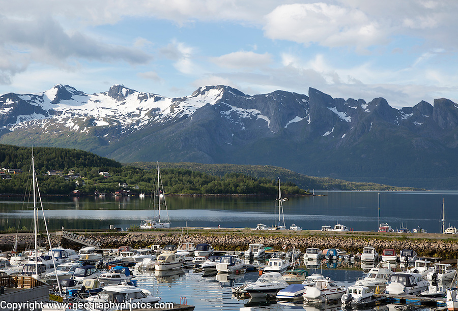 Boats moored in marina Ornes, Nordland, Norway