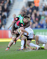 Darren Allinson of London Irish runs into Jack Clifford and Ugo Monye of Harlequins during the Aviva Premiership Rugby match between Harlequins and London Irish at The Twickenham Stoop on Saturday 7th March 2015 (Photo by Rob Munro)