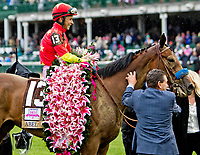 LOUISVILLE, KY - MAY 05: Abel Tasman with Mike Smith win the Longines Kentucky Oaks on Kentucky Oaks Day at Churchill Downs on May 5, 2017 in Louisville, Kentucky. (Photo by Sue Kawczynski/Eclipse Sportswire/Getty Images)