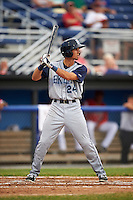 Brooklyn Cyclones center fielder Jacob Zanon (24) at bat during a game against the Batavia Muckdogs on July 6, 2016 at Dwyer Stadium in Batavia, New York.  Batavia defeated Brooklyn 15-2.  (Mike Janes/Four Seam Images)
