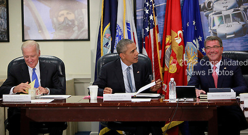 United States President Barack Obama chairs a meeting at the Pentagon of the National Security Council and receives an update from his national security team on the campaign to degrade and destroy the ISIL terrorist group. From left to right: Vice President Joseph Biden, President Barack Obama, Secretary of Defense Ashton Carter.<br /> Credit: Dennis Brack / Pool via CNP