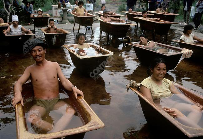 Mineral water bathing. Wudlianchi, Heilongjiang Province, China, August 1988.