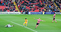Lincoln City's Harry Anderson celebrates scoring the opening goal<br /> <br /> Photographer Chris Vaughan/CameraSport<br /> <br /> Emirates FA Cup First Round - Lincoln City v Northampton Town - Saturday 10th November 2018 - Sincil Bank - Lincoln<br />  <br /> World Copyright © 2018 CameraSport. All rights reserved. 43 Linden Ave. Countesthorpe. Leicester. England. LE8 5PG - Tel: +44 (0) 116 277 4147 - admin@camerasport.com - www.camerasport.com