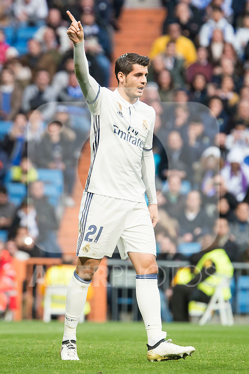 Real Madrid's Alvaro Morata during La Liga match between Real Madrid and Malaga CF at Santiago Bernabeu Stadium in Madrid, Spain. January 21, 2017. (ALTERPHOTOS/BorjaB.Hojas)