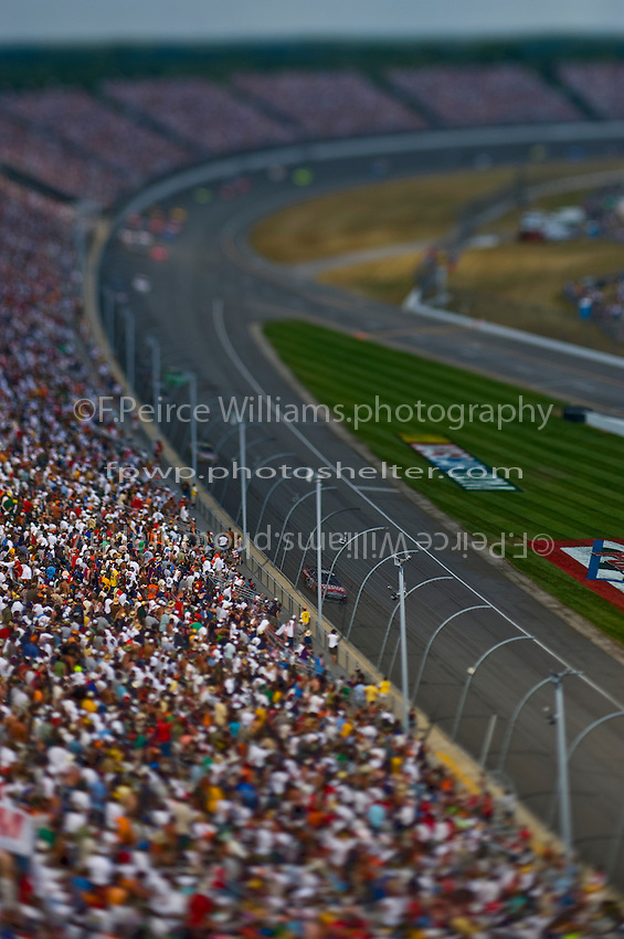 15-17 August 2008, Brooklyn, Michigan.Eventual winner Carl Edwards leads. (Note:Image was taken using a tilt/shift lens).©F.Peirce Williams 2008.F. Peirce Williams.photography