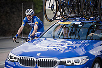 Philippe GILBERT (BEL/Deceuninck-Quick Step) dropping back to the team car for a check-up > he would later abandon the race due to sickness<br /> <br /> 74th Dwars door Vlaanderen 2019 (1.UWT)<br /> One day race from Roeselare to Waregem (BEL/183km)<br /> <br /> ©kramon