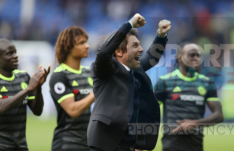 Antonio Conte manager of Chelsea celebrates after the English Premier League match at Goodison Park , Liverpool. Picture date: April 27th, 2016. Photo credit should read: Lynne Cameron/Sportimage