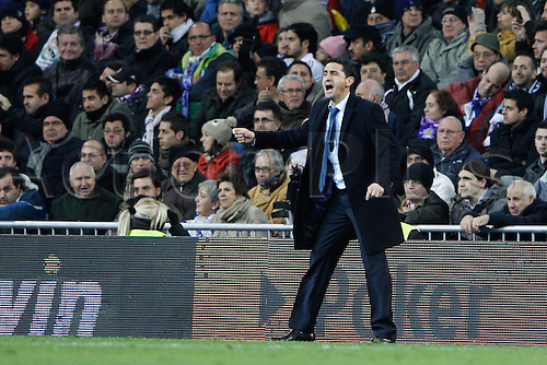 28.01.2012 SPAIN -  La Liga matchday 21th  match played between Real Madrid vs Real Zaragoza at Santiago Bernabeu stadium. The picture shows Manuel Jimenez Jimenez coach of Real Zaragoza