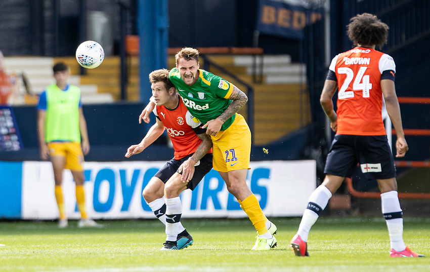Preston North End's Patrick Bauer competing with Luton Town's James Collins (left) <br /> <br /> Photographer Andrew Kearns/CameraSport<br /> <br /> The EFL Sky Bet Championship - Luton Town v Preston North End - Saturday 20th June 2020 - Kenilworth Road - Luton<br /> <br /> World Copyright © 2020 CameraSport. All rights reserved. 43 Linden Ave. Countesthorpe. Leicester. England. LE8 5PG - Tel: +44 (0) 116 277 4147 - admin@camerasport.com - www.camerasport.com