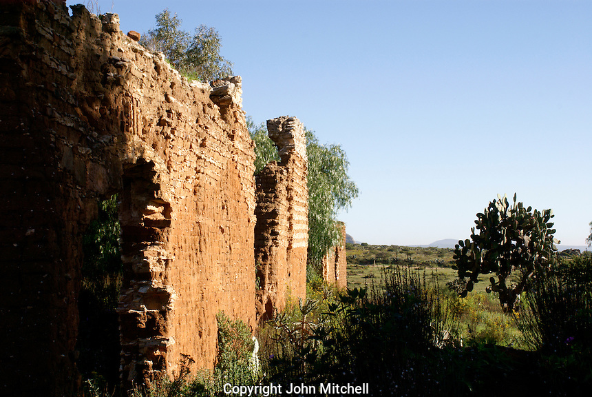 Ruined mining building in the 19th century mining town of Mineral de Pozos, Guanajuato, Mexico..