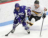 Jake Heisinger (Curry - 28), Mick Bruce (WIT - 27) - The Wentworth Institute of Technology Leopards defeated the visiting Curry College Colonels 1-0 on Saturday, November 23, 2013, at Walter Brown Arena in Boston, Massachusetts.