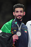 Ahmad Almesfer (KUW), <br /> AUGUST 27, 2018 - Karate : Men's Kumite -84kg Victory ceremony at Jakarta Convention Center Plenary Hall during the 2018 Jakarta Palembang Asian Games in Jakarta, Indonesia. <br /> (Photo by MATSUO.K/AFLO SPORT)