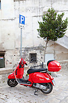 Red Vespa in Basilicata, ITALY