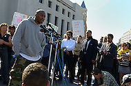 October 17, 2011  (Washington, DC)  R&B singer Raheem DeVaughn speaks at a press conference after his appearance before a judge at the DC Superior Court.  DeVaughn and 16 others, including Dr. Cornel West (center) and participants in Occupy DC as well as members of October2011, were arrested for protesting on the grounds of the US Supreme Court on October 16, 2011, the day of the MLK Memorial Dedication.    (Photo by Don Baxter/Media Images International)