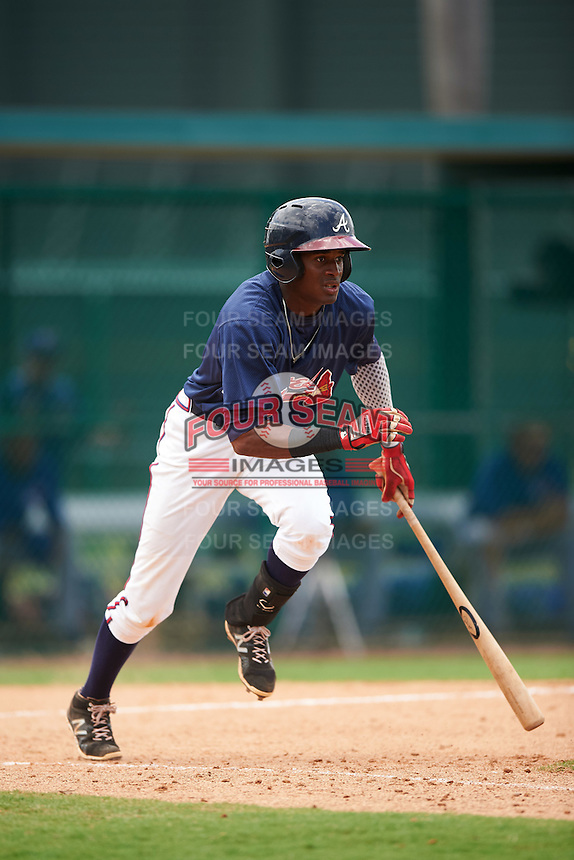 GCL Braves third baseman Alex Aquino (1) at bat during a game against the GCL Blue Jays on August 5, 2016 at ESPN Wide World of Sports in Orlando, Florida.  GCL Braves defeated the GCL Blue Jays 9-0.  (Mike Janes/Four Seam Images)