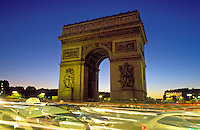 France, Paris, Arc de Triomphe and traffic at night