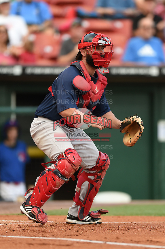 Pawtucket Red Sox catcher Dan Butler (12) waits for a throw during a game against the Buffalo Bisons on August 26, 2014 at Coca-Cola Field in Buffalo, New  York.  Pawtucket defeated Buffalo 9-3.  (Mike Janes/Four Seam Images)