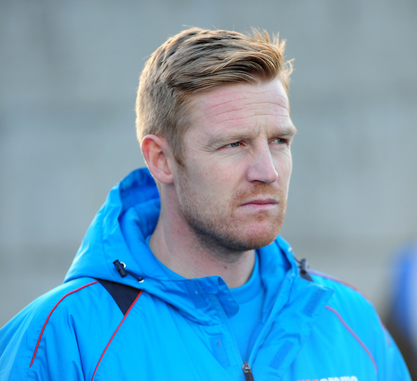 Guiseley manager Adam Lockwood  during the pre-match warm-up <br /> <br /> Photographer Andrew Vaughan/CameraSport<br /> <br /> Vanarama National League - Guiseley v Lincoln City - Monday 26th December 2016 - Nethermoor Park - Guiseley<br /> <br /> World Copyright &copy; 2016 CameraSport. All rights reserved. 43 Linden Ave. Countesthorpe. Leicester. England. LE8 5PG - Tel: +44 (0) 116 277 4147 - admin@camerasport.com - www.camerasport.com