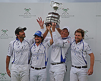 WELLINGTON, FL - MARCH 05: Valiente holds the winners trophy up high after defeating Orchard Hill 14-11, in the 26 goal CV Whitney Cup Final, at the International Polo Club, Palm Beach on March 05, 2017 in Wellington, Florida. (Photo by Liz Lamont/Eclipse Sportswire/Getty Images)
