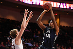 March 6, 2015; Las Vegas, NV, USA; Loyola Marymount Lions forward Patson Siame (14) shoots the basketball against the Santa Clara Broncos during the second half of the WCC Basketball Championships at Orleans Arena.