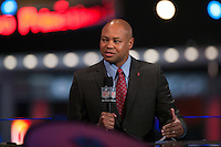 Stanford head coach David Shaw being interviewed by NFL Network. during the 2012 NFL Draft at Radio City Music Hall in New York, NY, on April 26, 2012.