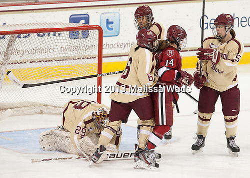 Corinne Boyles (BC - 29), Kaliya Johnson (BC - 6), Blake Bolden (BC - 10), Jillian Dempsey (Harvard - 14), Kelsey Romatoski (Harvard - 5) - The Boston College Eagles defeated the visiting Harvard University Crimson 3-1 in their NCAA quarterfinal matchup on Saturday, March 16, 2013, at Kelley Rink in Conte Forum in Chestnut Hill, Massachusetts.