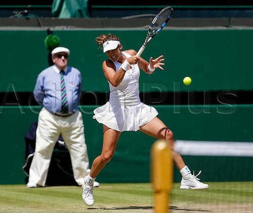 09.07.2015.  Wimbledon, England. The Wimbledon Tennis Championships. Ladies Singles semi-final match between twentieth seed Garbine Muguruza (ESP) and thirteenth seed Agnieszka Radwanska (POL).  Garbine Muguruza in action