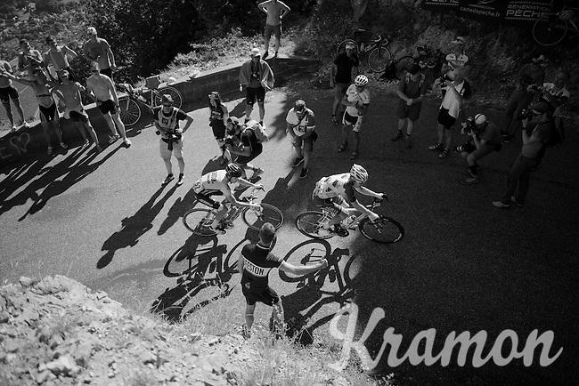 Jan Bakelants (BEL/Ag2r-LaMondiale) & George Bennet (NZL/LottoNL-Jumbo) up the Lacets du Grand Colombier (Cat1/891m/8.4km/7.6%)<br /> <br /> stage 15: Bourg-en-Bresse to Culoz (160km)<br /> 103rd Tour de France 2016
