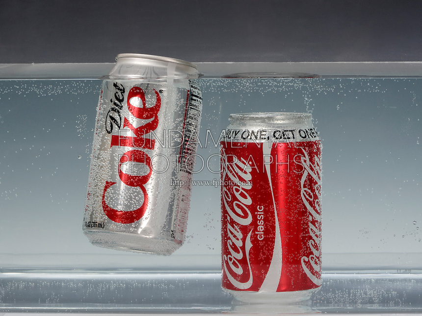 BUOYANCY AND DENSITY<br /> (Variations Available)<br /> Diet Coke Versus Classic Coke<br /> Nutrisweet in diet coke is hundreds of times sweeter per unit volume than sugar which is denser than water. The 11 tsp of sugar in Classic Coke is taken up by water in Diet Coke. Diet Coke floats while Classic Coke does not.