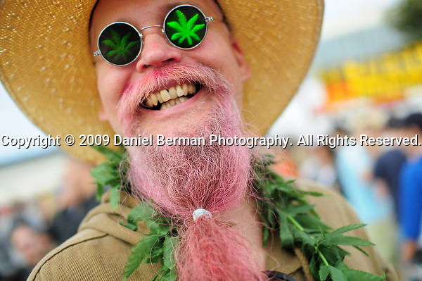 A man who declined to provide his name selling hemp seed cookies poses for a portrait on day 1 of Hempfest at Myrtle Edwards Park Saturday August 15, 2009. Photo by Daniel Berman/SeattlePI.com