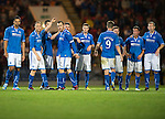 St Johnstone v FC Minsk...08.08.13 Europa League Qualifier<br /> Dave Mackay is consoled by team mates after mssing his penalty<br /> Picture by Graeme Hart.<br /> Copyright Perthshire Picture Agency<br /> Tel: 01738 623350  Mobile: 07990 594431