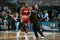 DENVER, CO--Trina Patterson works with Chiney Ogwumike during a team open practice session at the Pepsi Center for the 2012 NCAA Women's Final Four festivities in Denver, CO.