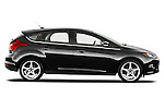 Passenger side profile view of a 2012 Ford Focus Hatchback Titanium Stock Photo