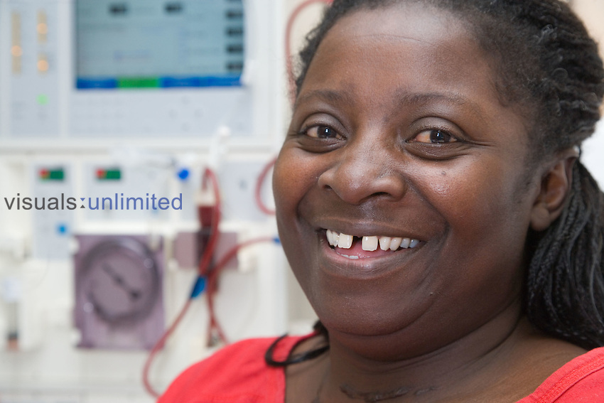 Woman undergoing dialysis on the Nottingham City Hospital Renal Unit.  MR