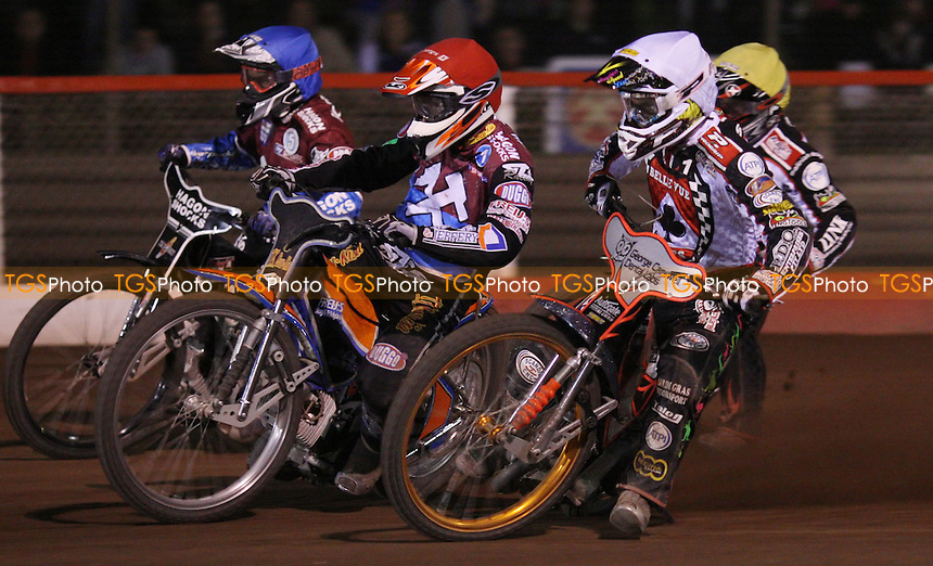 Heat 13: Rory Schlein (white), Peter Karlsson (red), Lee Richardson (blue) and Adam Shields (yellow) - Lakeside Hammers vs Belle Vue Aces, Elite League at the Arena Essex Raceway, Pufleet - 30/03/12 - MANDATORY CREDIT: Rob Newell/TGSPHOTO - Self billing applies where appropriate - 0845 094 6026 - contact@tgsphoto.co.uk - NO UNPAID USE..