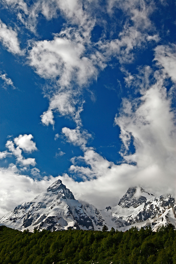 Russia, Caucasus, Dramatic mountains and high sky in Adylsu valley, a side valley to Baksan and Elbrus.
