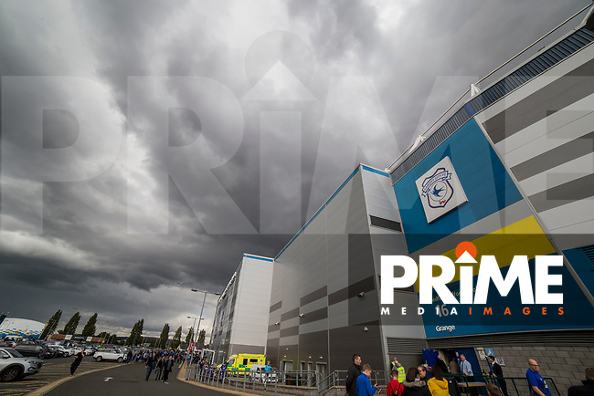Stormy skies outside the ground ahead of the Sky Bet Championship match between Cardiff City and Sheffield Wednesday at Cardiff City Stadium, Cardiff, Wales on 16 September 2017. Photo by Mark  Hawkins / PRiME Media Images.
