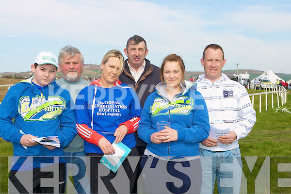 WINNERS: Ready to collect their winning at the North Kerry Harriers Point to Point Races in Ballybunion on Satuday.Front l-r:Eric McHale (Causeway), Ciara Mangan, Joanne Brosnan (Knocknagoshel). Back l-r: Patrick Egan, William and Liam Goggin (Causeway).................................................................. ........