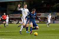 3rd March 2020; Dens Park, Dundee, Scotland; Scottish Championship Football, Dundee FC versus Alloa Athletic; Oliver Crankshaw of Dundee goes past Liam Dick of Alloa Athletic