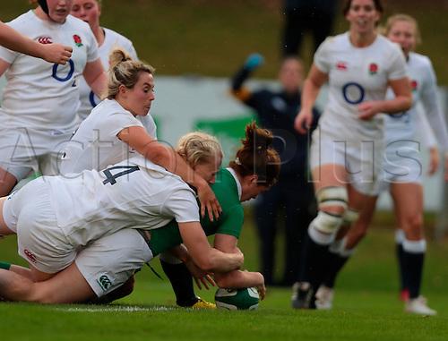13.11.2016. UCD Bowl, Dublin, Ireland. November Series. Ireland Women versus England.<br /> Nora Stapleton (Ireland) grounds the ball to score a try.