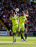 Jack O'Connell of Sheffield Utd and Chris Basham of Sheffield Utd try to get a head on the ball during the Championship match at Bramall Lane, Sheffield. Picture date 26th August 2017. Picture credit should read: Simon Bellis/Sportimage