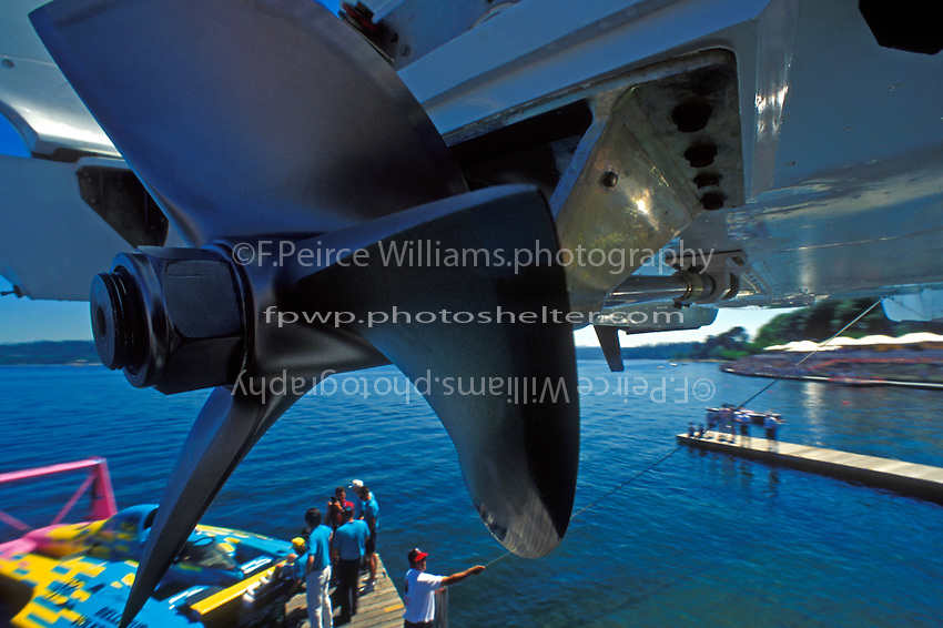 "A remote camera focuses in on the propeller of the U-8 ""Pizza Time"" as the boat is lifted into the water for a practice run."