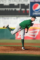 Savannah Sand Gnats starting pitcher Casey Meisner (15) follows through on his delivery against the Hickory Crawdads at L.P. Frans Stadium on June 15, 2015 in Hickory, North Carolina.  The Crawdads defeated the Sand Gnats 4-1.  (Brian Westerholt/Four Seam Images)