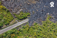 Lava covering a highway, aerial view, Kilauea volcano, Big Island, Hawaii<br />  (Licence this image exclusively with Getty: http://www.gettyimages.com/detail/85071265 )