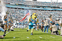 January 01, 2012:  Jacksonville Jaguars mascot Jaxson De Ville leads the team onto the field before the start of action between the Jacksonville Jaguars and the Indianapolis Colts played at EverBank Field in Jacksonville, Florida.  ........