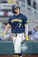 Michigan Wolverines outfielder Jesse Franklin (7) walks back to the dugout against the Vanderbilt Commodores during Game 3 of the NCAA College World Series Finals on June 26, 2019 at TD Ameritrade Park in Omaha, Nebraska. Vanderbilt defeated Michigan 8-2 to win the National Championship. (Andrew Woolley/Four Seam Images)